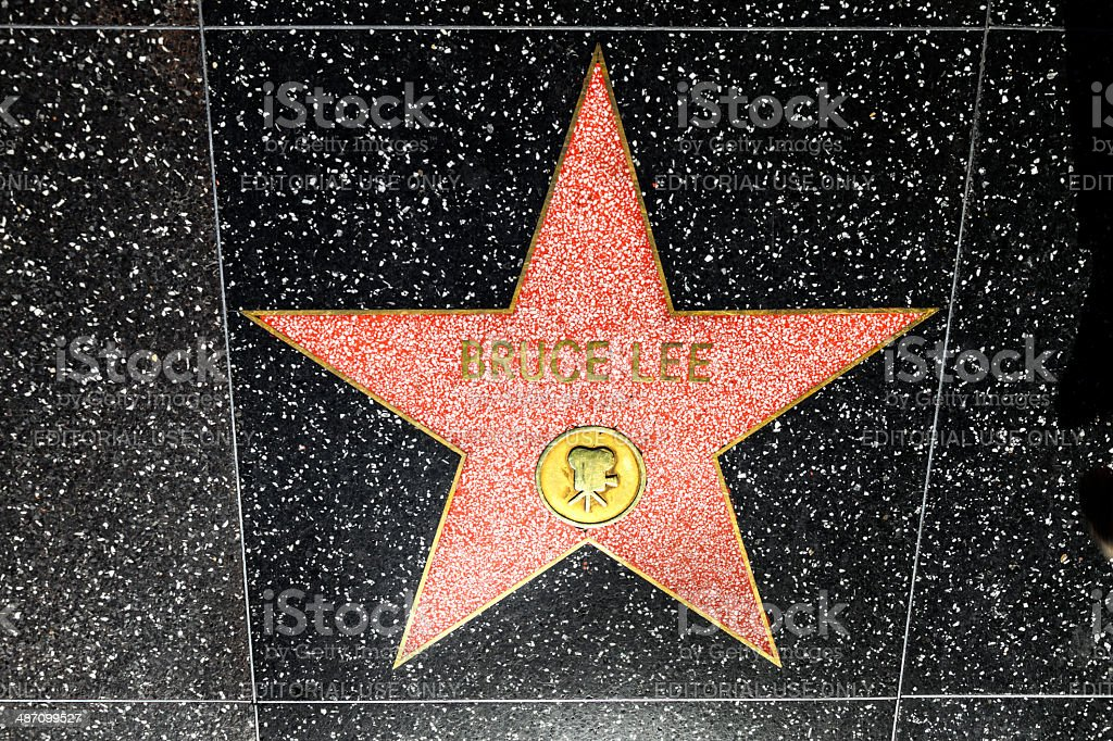 Bruce Lees star on Hollywood Walk of Fame stock photo