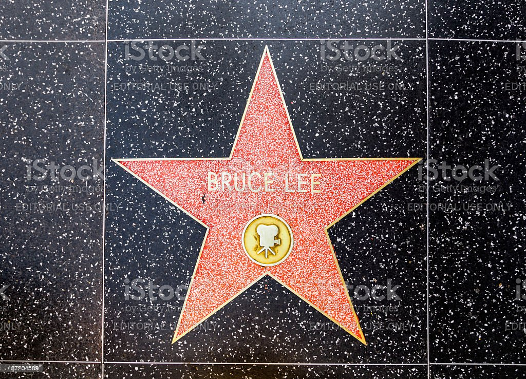 Bruce Lee's star na calçada da fama de Hollywood - foto de acervo