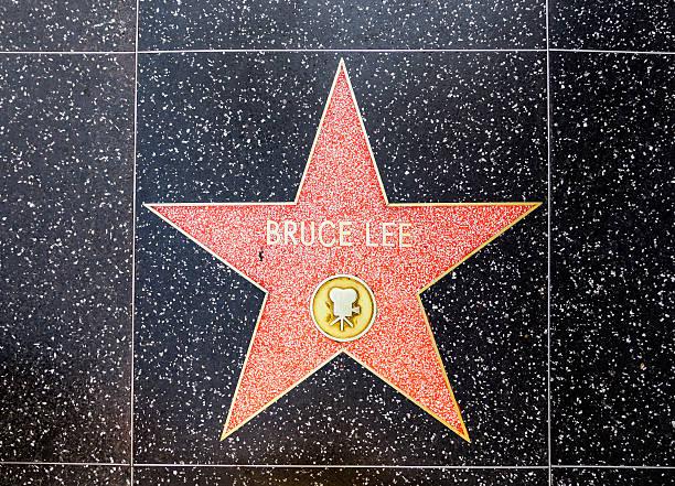 Bruce Lee's star na calçada da fama de Hollywood - foto de acervo