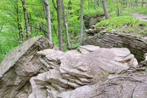 Bruce Trail Niagara Escarpment Southern Rock Formations stock photo