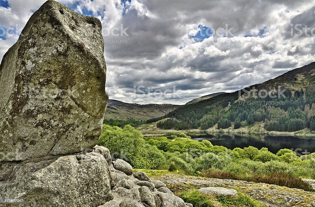 Bruce's stone above Loch Trool stock photo