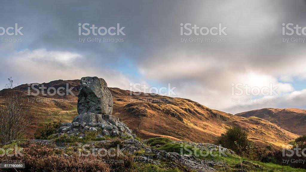 Bruces Stone, Glen Trool, Scotland stock photo