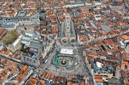 istock Bruges Aerial City View feat. Belfry of Bruges and Market Square in Belgium 1088442968