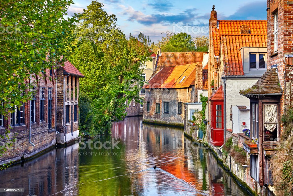 Bruges Belgium medieval ancient houses stock photo