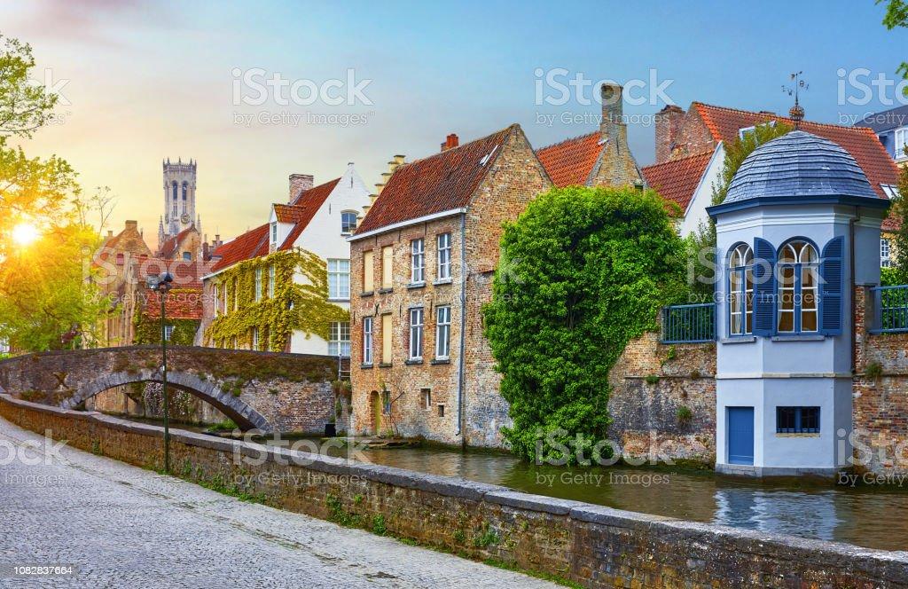 Bruges Belgium Medieval Old Brick Houses Stock Photo