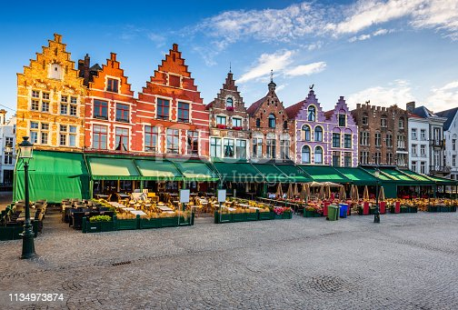 Bruges, Belgium. Grote Markt square at sunrise.