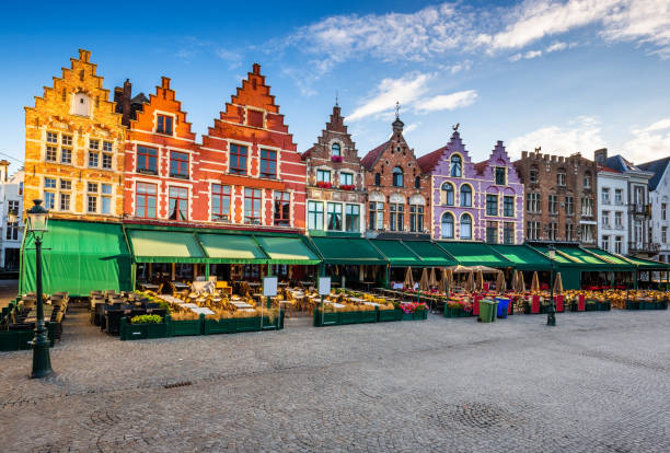 Bruges, Belgium. Bruges, Belgium. Grote Markt square at sunrise. belgium stock pictures, royalty-free photos & images