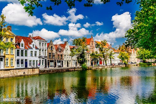 View along the canal towards Langerei in the city of Bruges in Belgium, looking north. AdobeRGB colorspace.