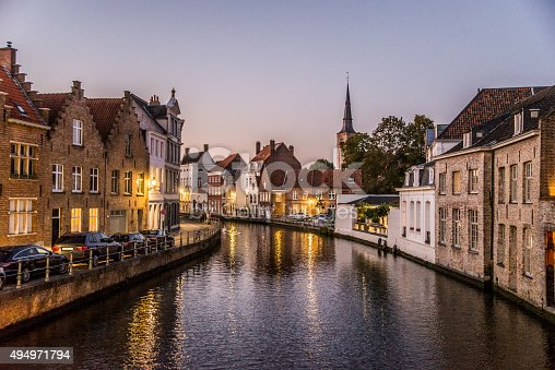 The beautiful town of Bruges, Belgium, by night.