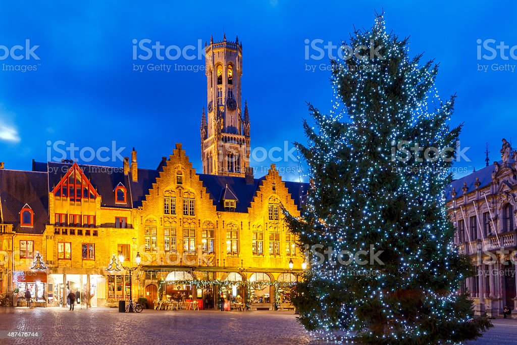 Bruges. Burg Square with the Christmas tree at Christmas. stock photo
