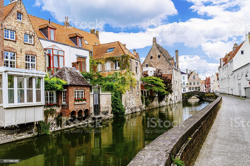 Bruges canal and houses, Belgium stock photo