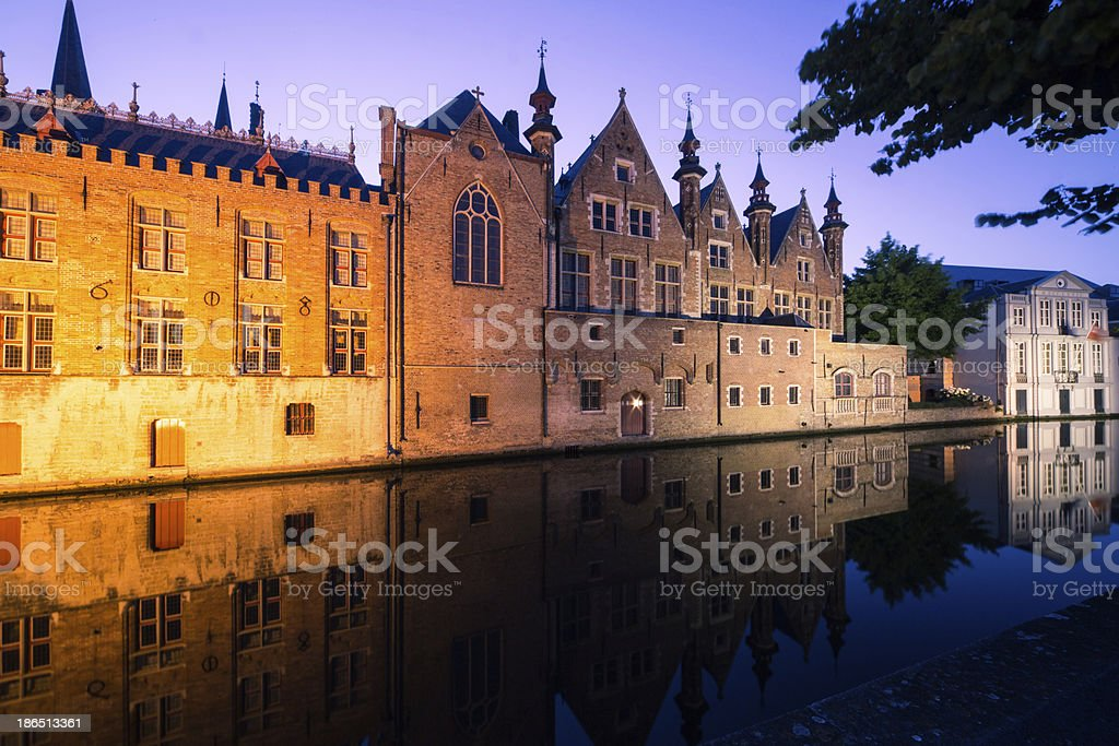 Bruges Canal by night royalty-free stock photo