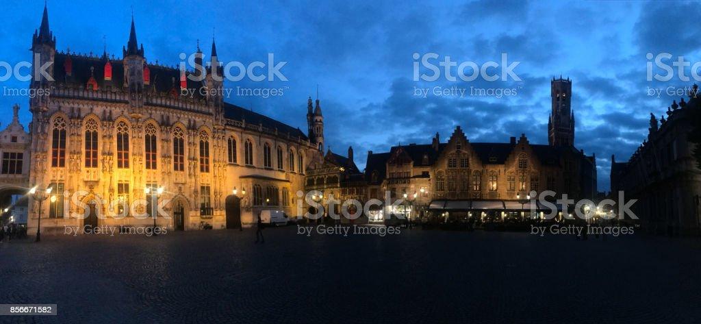 Bruges City Hall on Burg Square  at night, Belgium stock photo