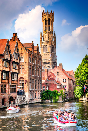 Bruges Flanders Belgium Water Canal With Flemish Houses