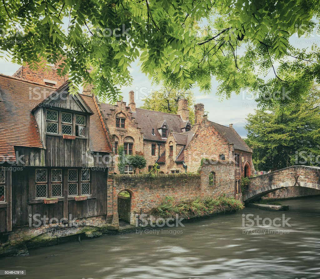 Bruges historical houses and canals stock photo