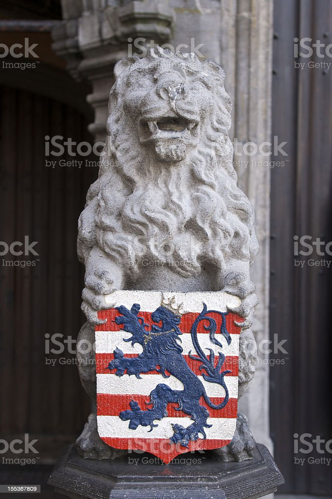Bruges lion and coat of arms royalty-free stock photo
