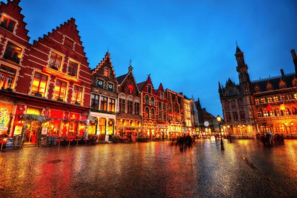 Bruges Market Square Belgium stock photo