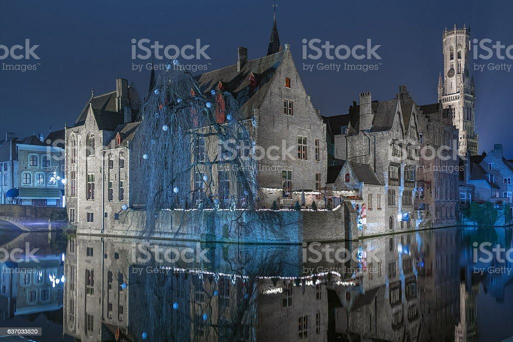 Bruges nigth stock photo