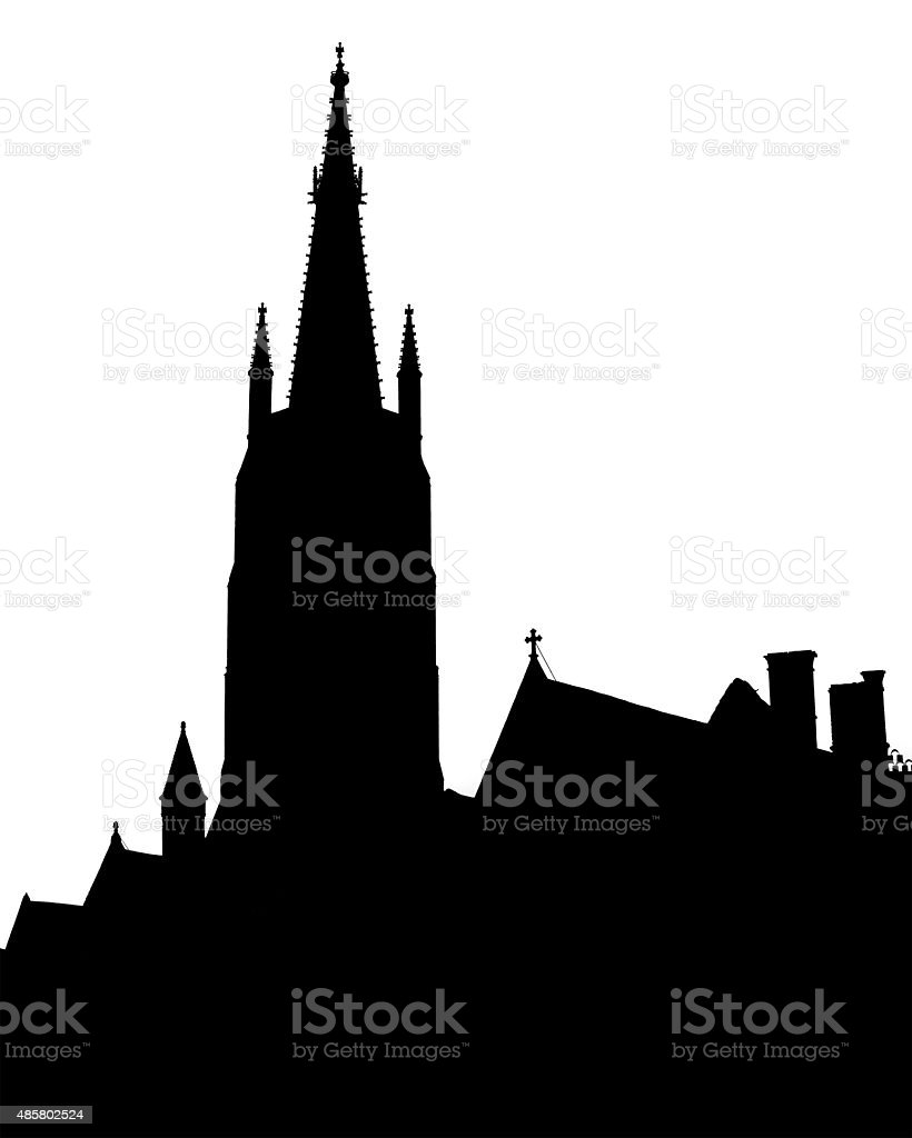 Bruges old town skyline monochrome silhouette stock photo
