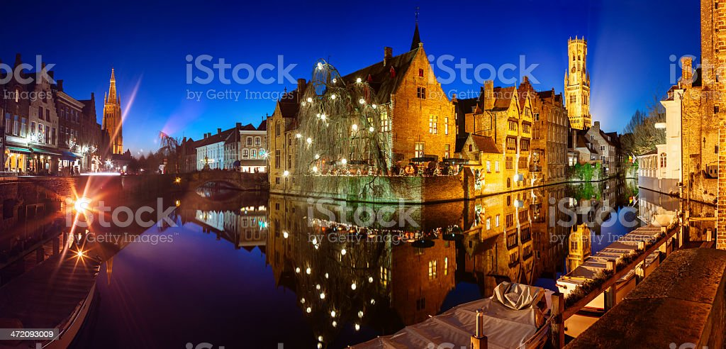 Bruges panorama at night stock photo