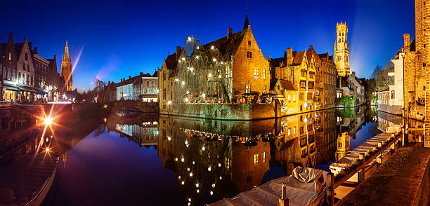 Bruges panorama at night stock photo