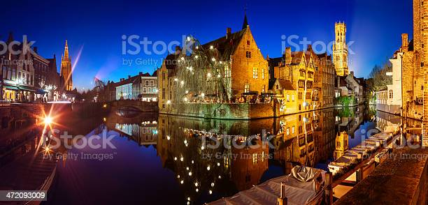 Bruges Panorama At Night Stock Photo - Download Image Now