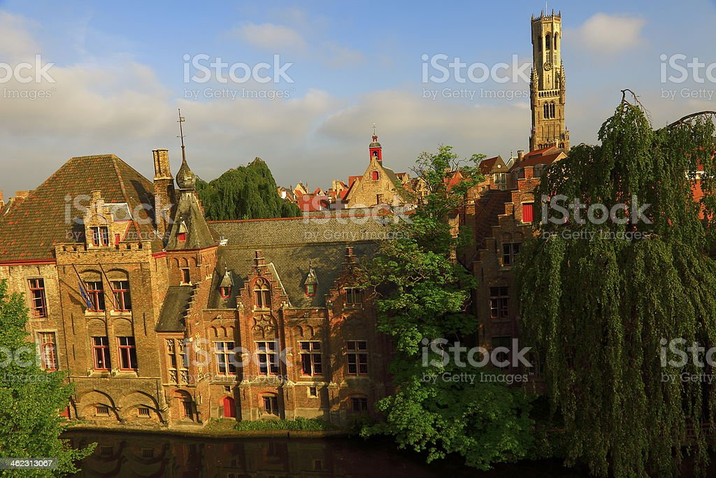 Bruges roofs stock photo