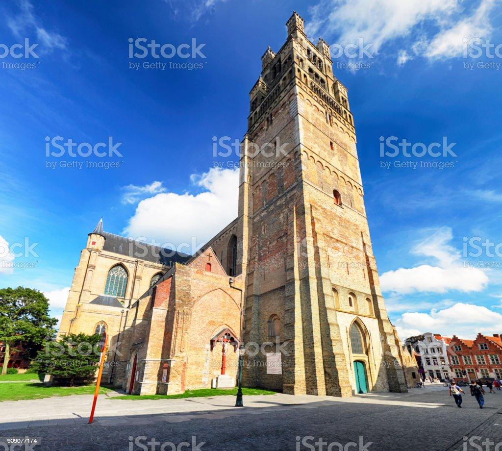 Bruges - Saint Saviour's Cathedral ( Sint-Salvatorskathedraal ), the oldest parish church of Brugge  Belgium stock photo