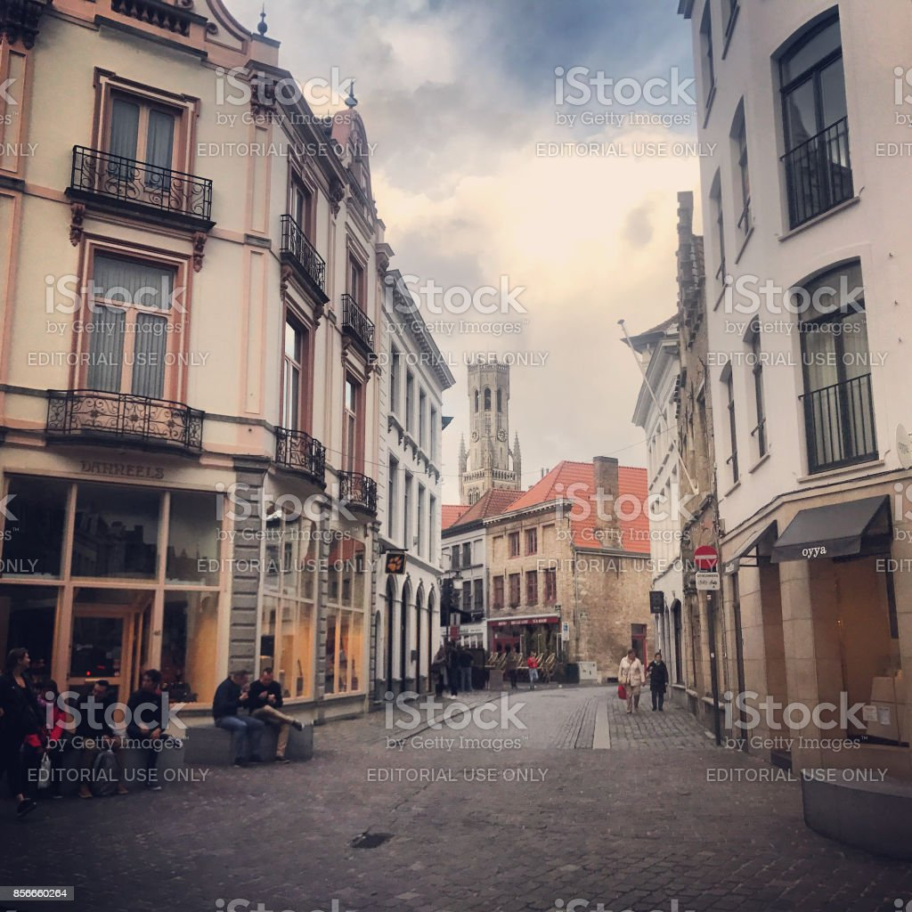 Bruges streets with tourists sightseeing, Belgium stock photo