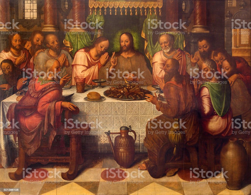 Bruges - The Last supper of Christ stock photo