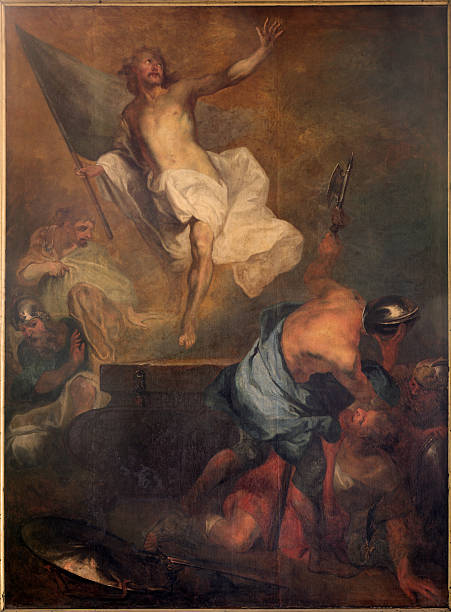 Bruges - The Resurrection of Christ in st. Jacobs church stock photo