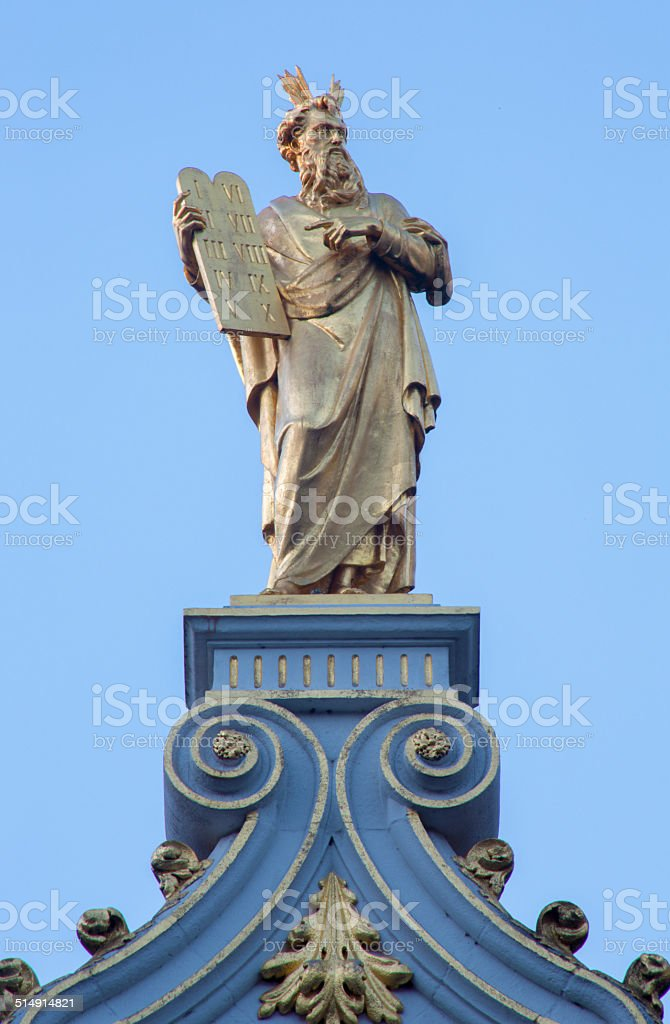 Bruges - The statue of Moses stock photo