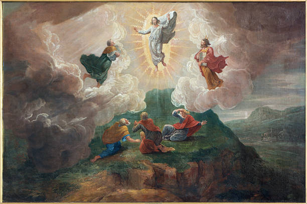 bruges - transfiguration of the lord  in st. jacobs church - peter the apostle stock photos and pictures
