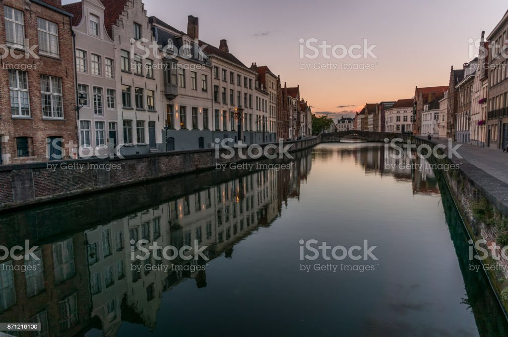 Brugge architecture reflections stock photo