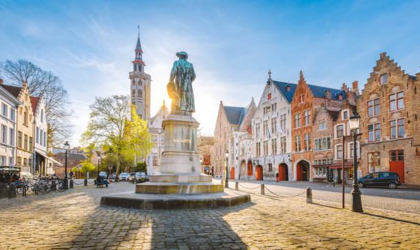 Brugge city center at sunset, Flanders region, Belgium stock photo