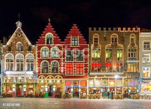 istock Brugge. Market Square at night 515316166