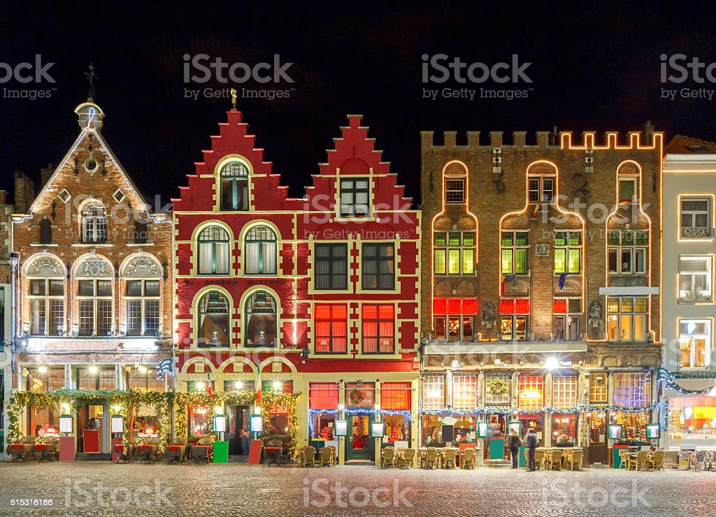 Brugge. Market Square at night stock photo
