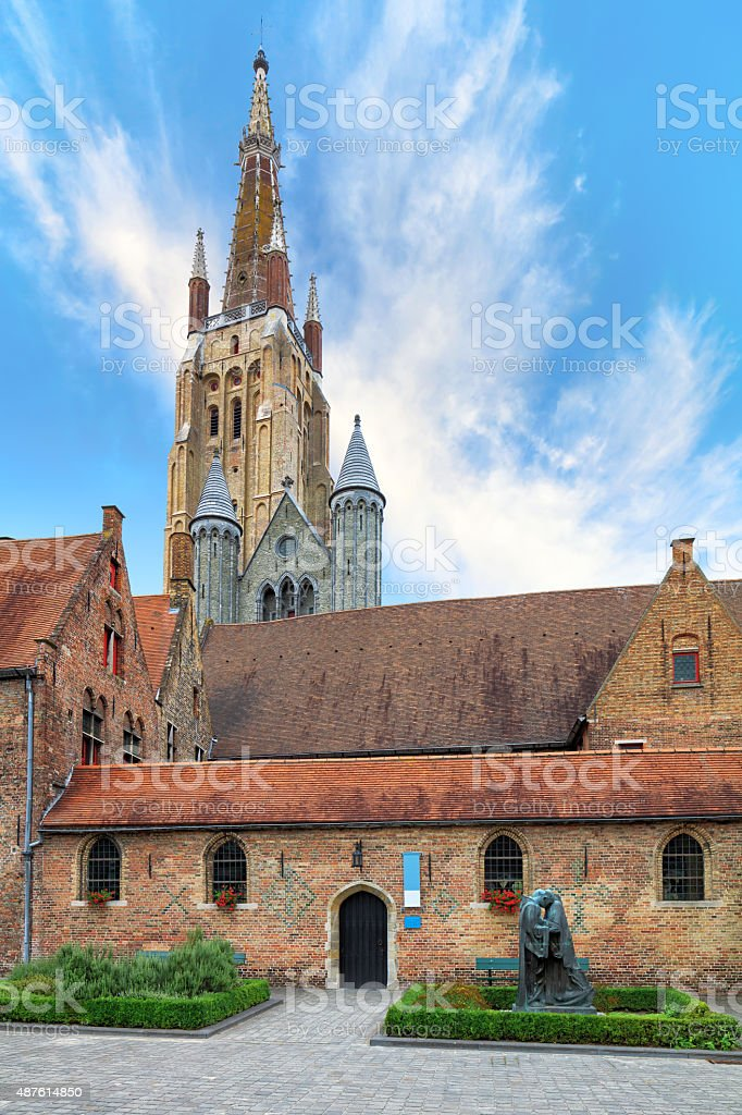 Brugge Oud Sint Janshospitaal and Church of Our Lady stock photo