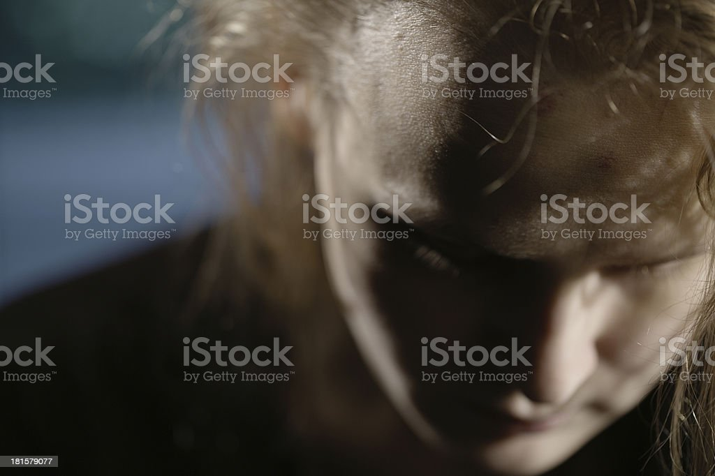 Bruises on forehead. Domestic violence stock photo