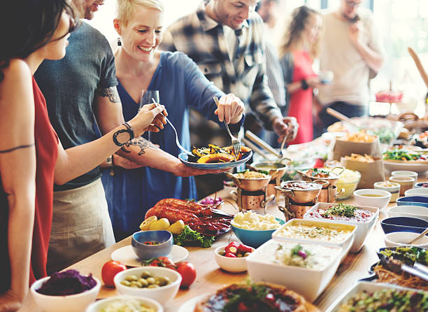 Brunch Choice Crowd Dining Food Options Eating Concept Brunch Choice Crowd Dining Food Options Eating Concept buffet stock pictures, royalty-free photos & images