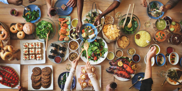 Brunch Choice Crowd Dining Food Options Eating Concept - foto stock