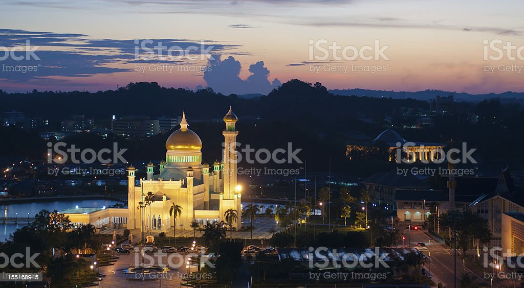 Brunei at night stock photo