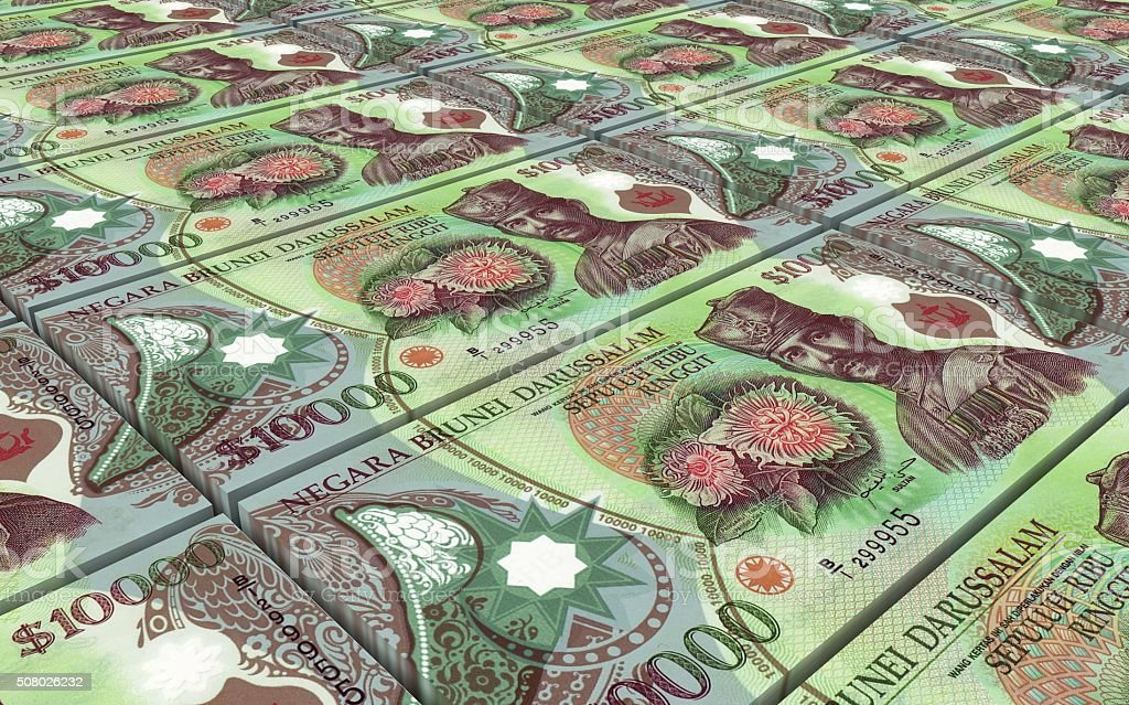 Brunei dollar bills stacks background stock photo
