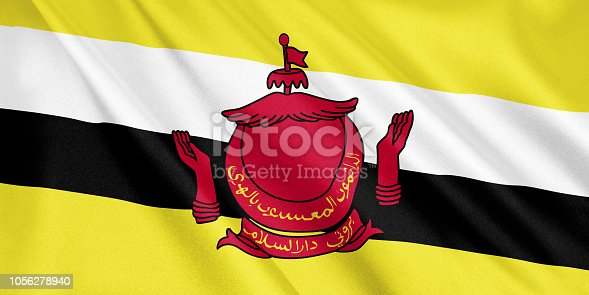 1056280906 istock photo Brunei flag waving with the wind, wide format, 3D illustration. 3D rendering. 1056278940