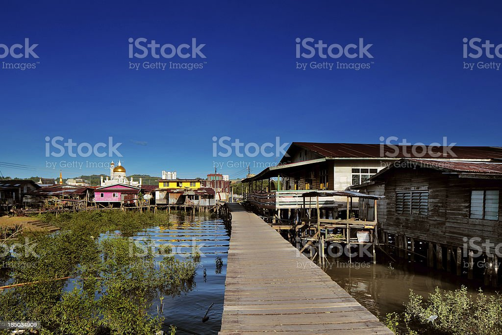 Brunei's Famed water villages are fully self sufficient stock photo