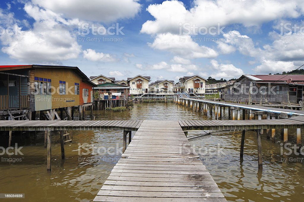 Bruneis Famed water villages are fully self sufficient stock photo