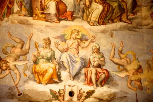 Brunelleschi Cupola Del Duomo Firenze Italia - Fotografie stock e altre immagini di Affresco