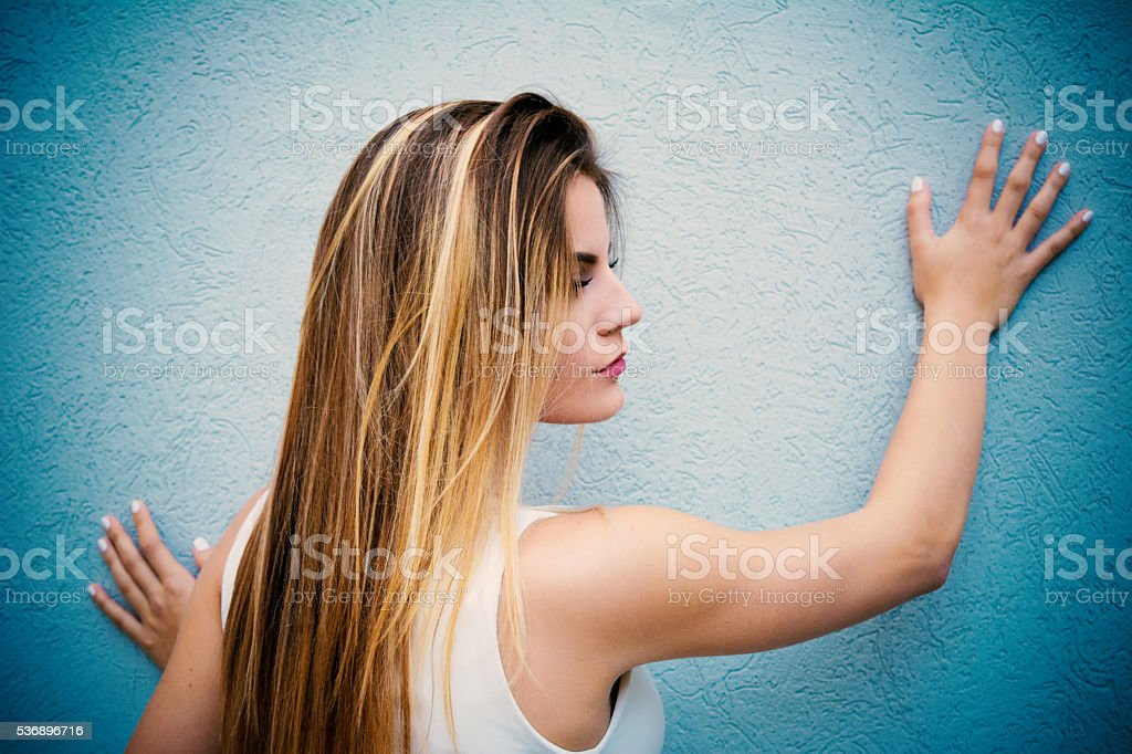 Brunete with highlights stock photo