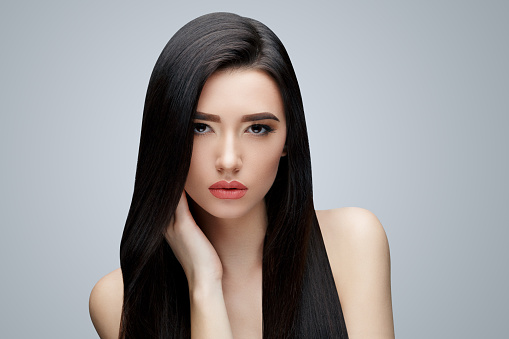 Brunette Asian Girl With Long Straight Hair Stock Photo - Download Image  Now - iStock