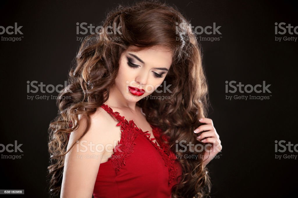Brunette Beauty Makeup Long Hair Curly Hairstyle Beautiful Imagens